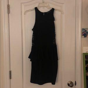 LBD Black Dress w/Lace Sides & Peplum